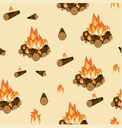 Campfire burning wood and flame seamless pattern vector