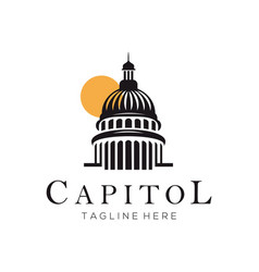 capitol building construction logo and icon design vector image