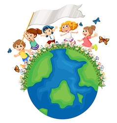 Children running around earth with flag vector