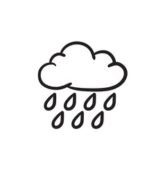 Cloud and rain sketch icon vector