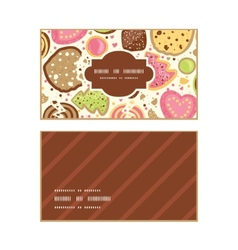 Colorful cookies horizontal frame pattern business vector