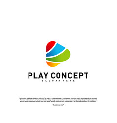 colorful play logo design concept play logo vector image