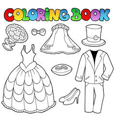 coloring book with wedding clothes vector image