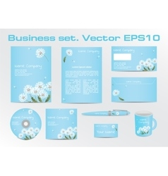 Corporative Business Set with Dandelion Depiction vector image