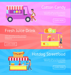 Cotton candy and fresh juice vector