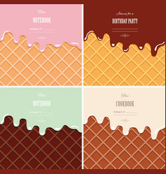 Cream melted on wafer background set ice vector