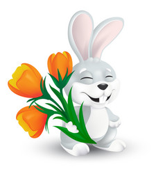 cute happy easter bunny with orange tulip flowers vector image