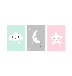 Cute posters with little cloud moon and star vector
