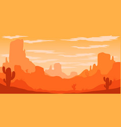 desert landscape with cactuses and mountains in vector image