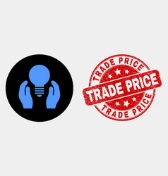 dollar bulb care hands icon and grunge vector image