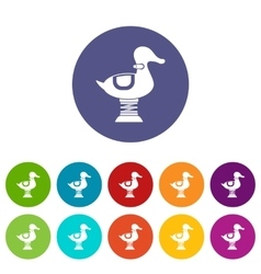 Duck spring see saw set icons vector