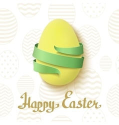 Easter egg with green ribbon around vector