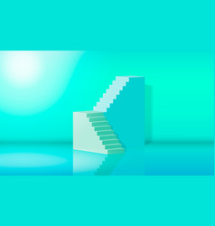 Eps10 3d rendering green blue stairs steps vector