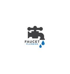 faucet plumbing logo design template vector image