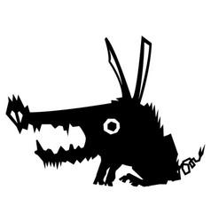 feral pig creature stencil vector image