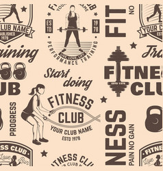 Fitness club seamless pattern or background vector