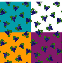 four seamless pattern with grapes vector image