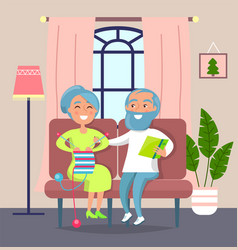 funny old people aged man reading book to aged vector image
