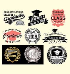 Graduation set class of 2019 congrats grad vector