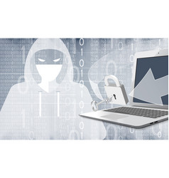 hacker with computer and binary code vector image