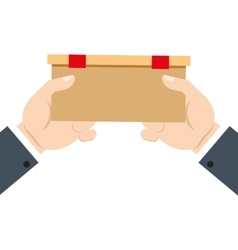 Hands holding delivery box ribbon vector