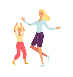 happy cartoon mother and daughter dancing isolated vector image