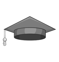 Hat student icon gray monochrome style vector image