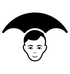 Head Umbrella Flat Icon vector