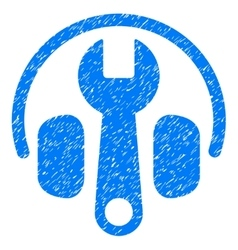 Headphones Tuning Wrench Grainy Texture Icon vector image