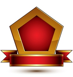 Heraldic template with golden outline 3d royal vector image