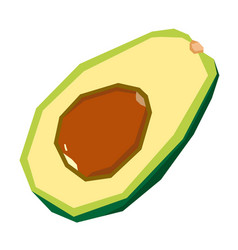 Isolated cut avocado vector