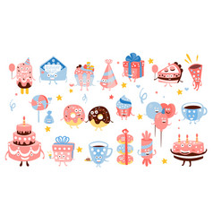 Kid birthday party sweets and attributes girly vector