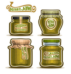 Kiwi jam in glass jars vector