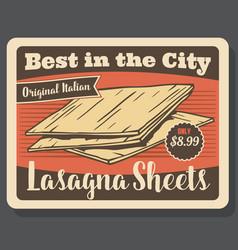 Lasagna pasta italian dish menu vector