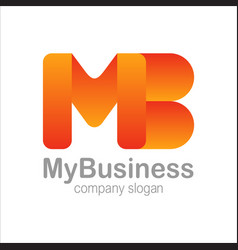 Letter m b logo symbol orange colorful gradient vector