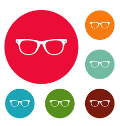 man glasses icons circle set vector image