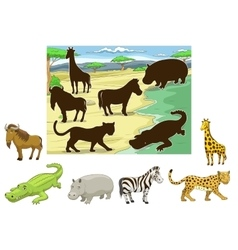 Match animals to their shadows educational game vector