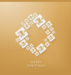 merry christmas golden glitter background vector image