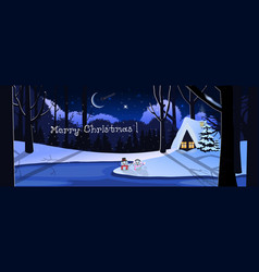 merry christmas greeting card of snowy night vector image