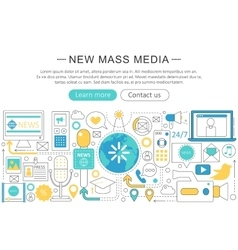 Modern line flat design News mass media vector