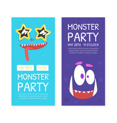 monster party invitation cards templates set vector image