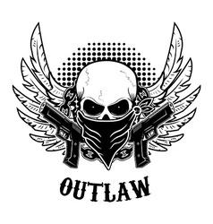 Outlaw t-shirt print design template skull vector
