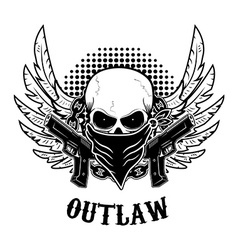 Outlaw t-shirt print design template skull with vector
