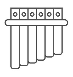 Panpipe thin line icon musical and instrument vector