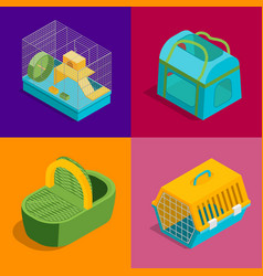 Pet carriers signs 3d banner set isometric view vector