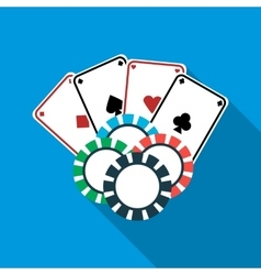 Poker cards and casino chips icon flat style vector image