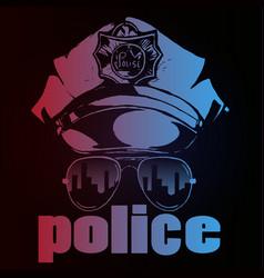 police cap goggles policeman attributes modern vector image