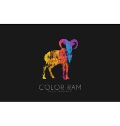 Ram logo design Color ram Creative logo vector image