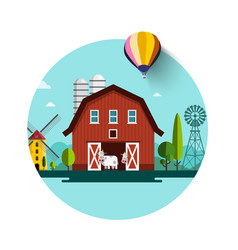 rural landscape barn and wind mills flat design vector image
