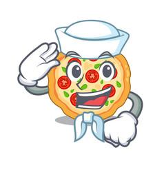Sailor margherita pizza in a cartoon oven vector
